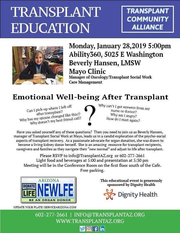 Transplant Education: Emotional Well-being post transplant