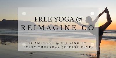 Free Yoga at Reimagine Co on Thursdays