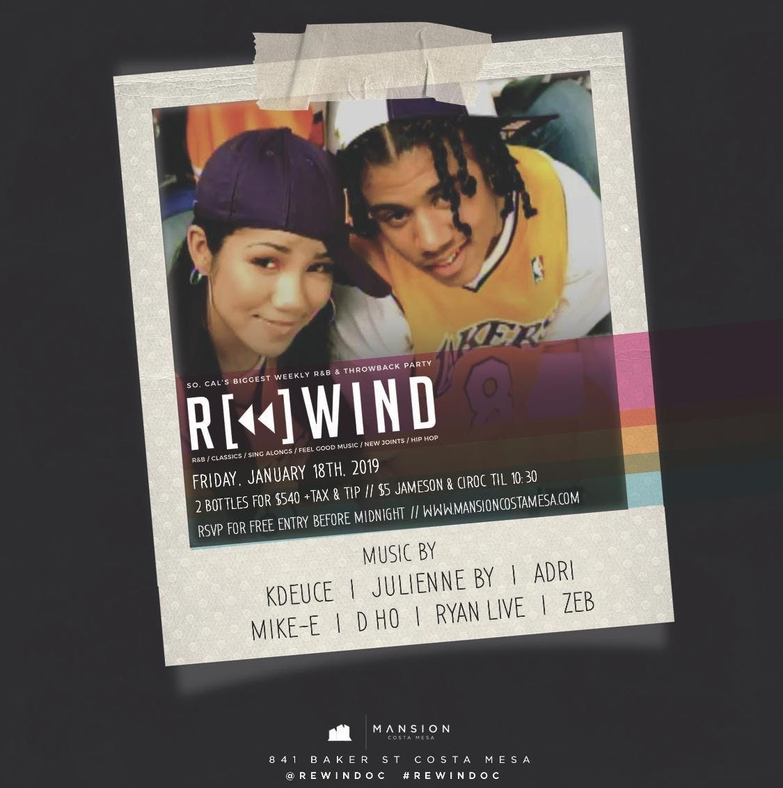 Rewind OC Fridays at Mansion Free Guestlist - 1/18/2019