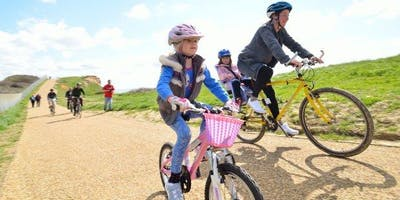 Adult and Children Cycling