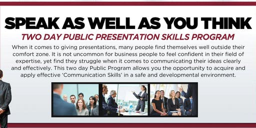 Chicago Public Presentation Skills Workshop - October 9-10, 2019