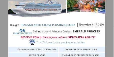 Transatlantic Cruise plus Barcelona aboard the Emerald Princess tickets