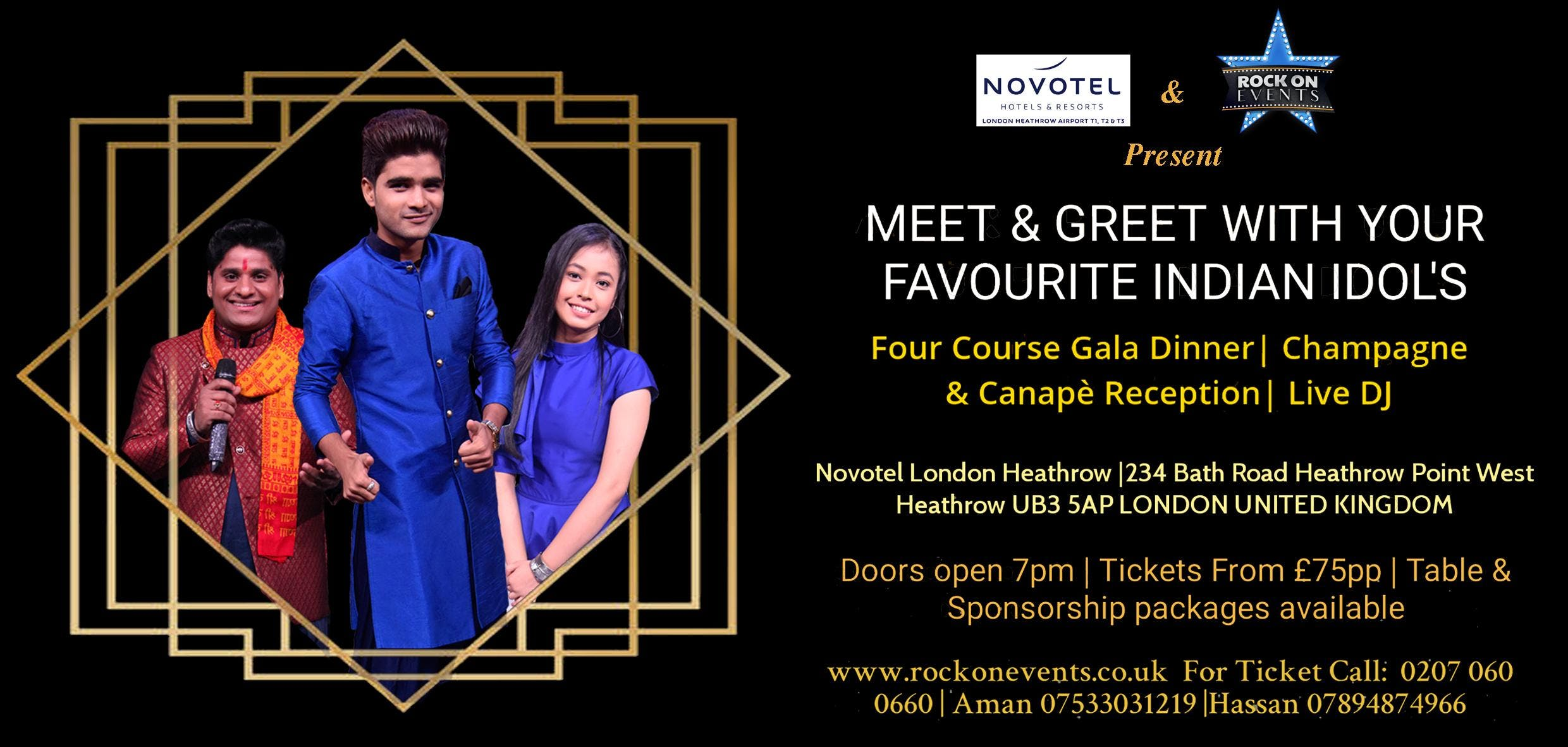 Indian Idol Stars - Meet & Greet - 4 Course Gala Dinner