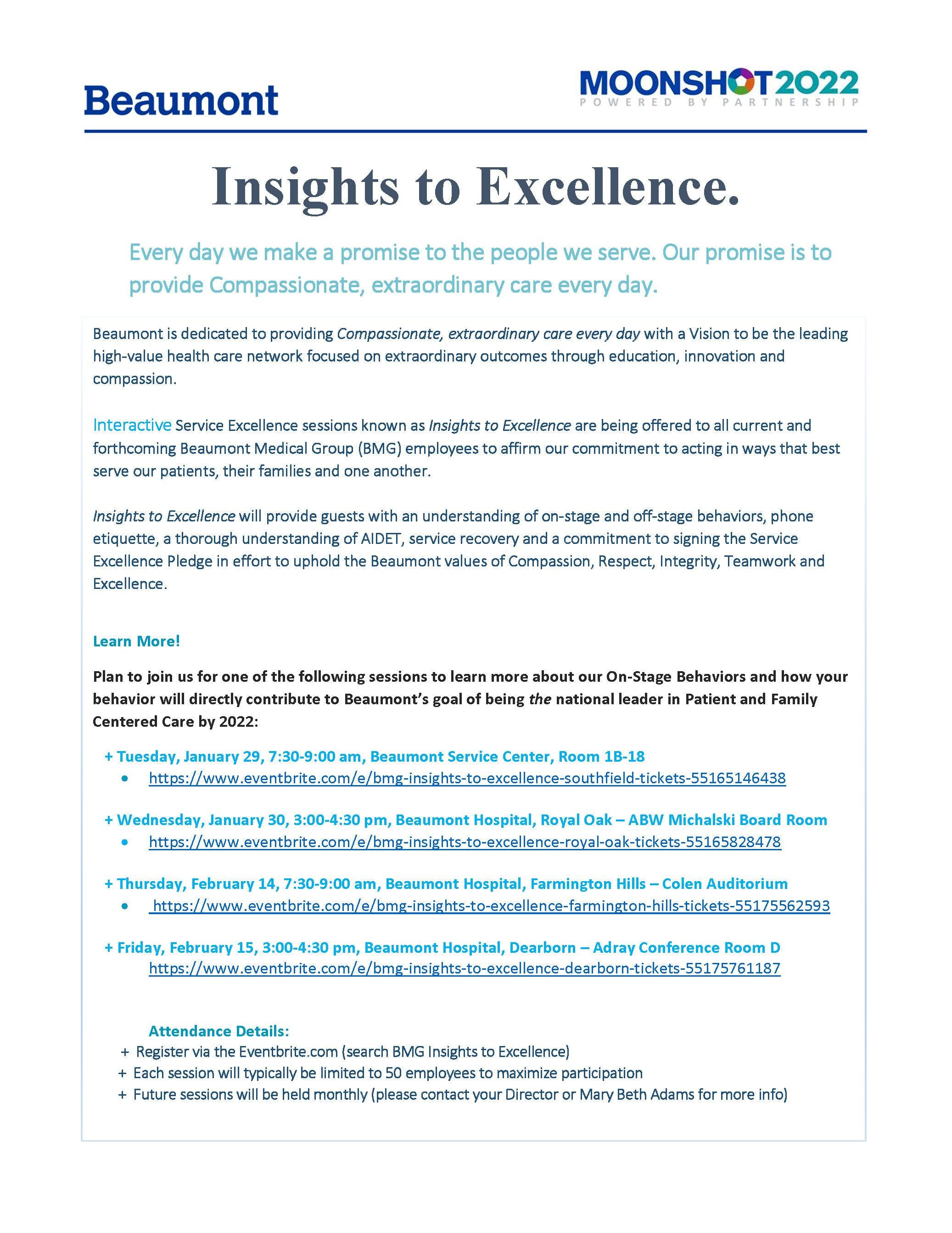 BMG Insights to Excellence - Dearborn - 25 FEB 2019