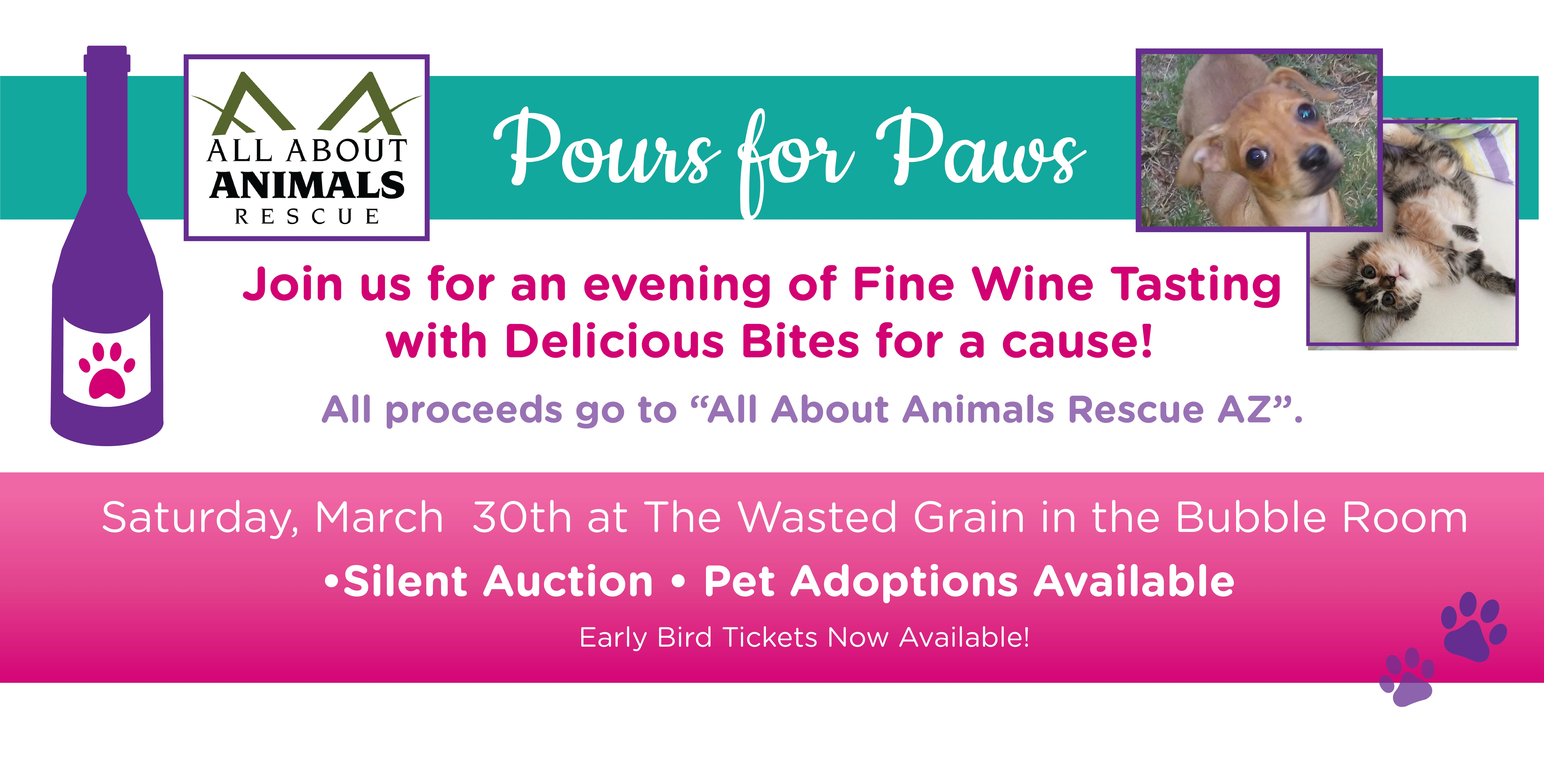Pours for Paws -An evening of Wine Tasting supporting All About Animals Rescue AZ