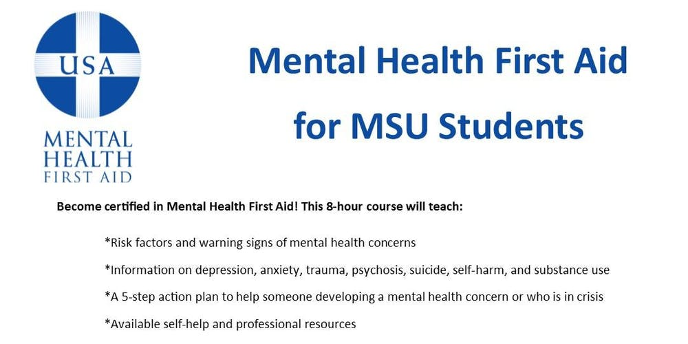 Mental Health First Aid For Students Tickets Sat Mar 30 2019 At 8