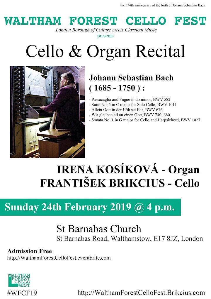 Waltham Forest Cello Fest 2019 - Cello & Organ Recital (J. S. Bach) image