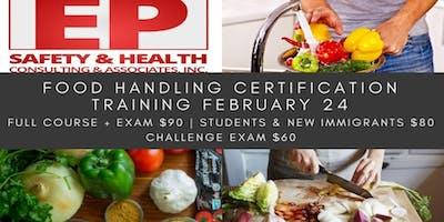 Food Handling Certification Training February 24