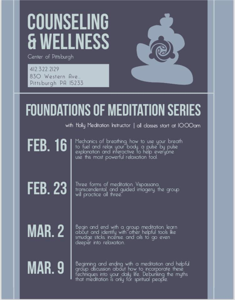 Meditation Event- Beginners, Counseling and Wellness Center of Pittsburgh.