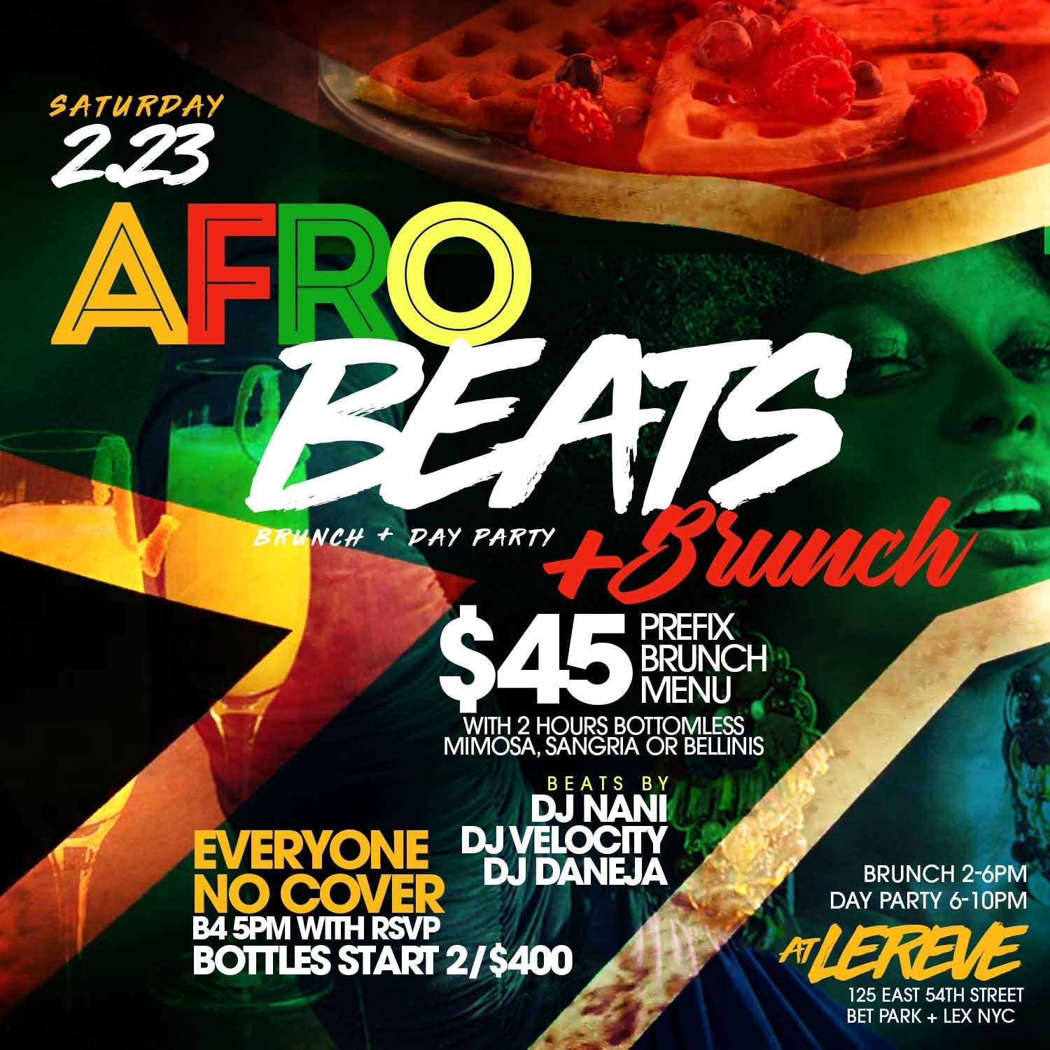 CEO FRESH PRESENTS:  AFROBEATS AND BRUNCH  (BRUNCH & DAY PARTY) AT LE REVE NYC