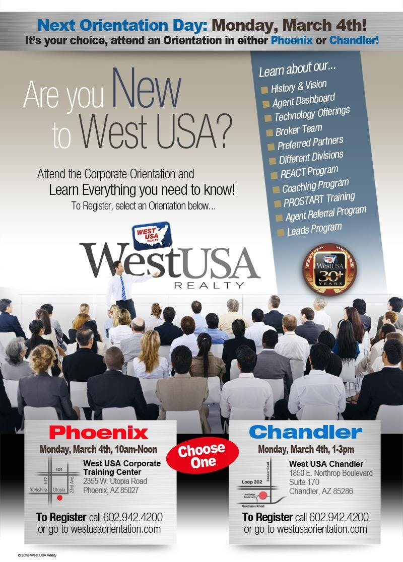 West USA Realty Chandler Orientation - March