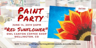 Red Sunflower - Owl Canyon Coffee Paint Party