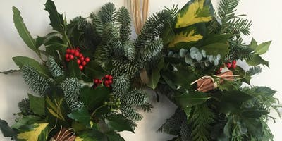 Christmas Wreath Making with a glass of something boozey and mince pies