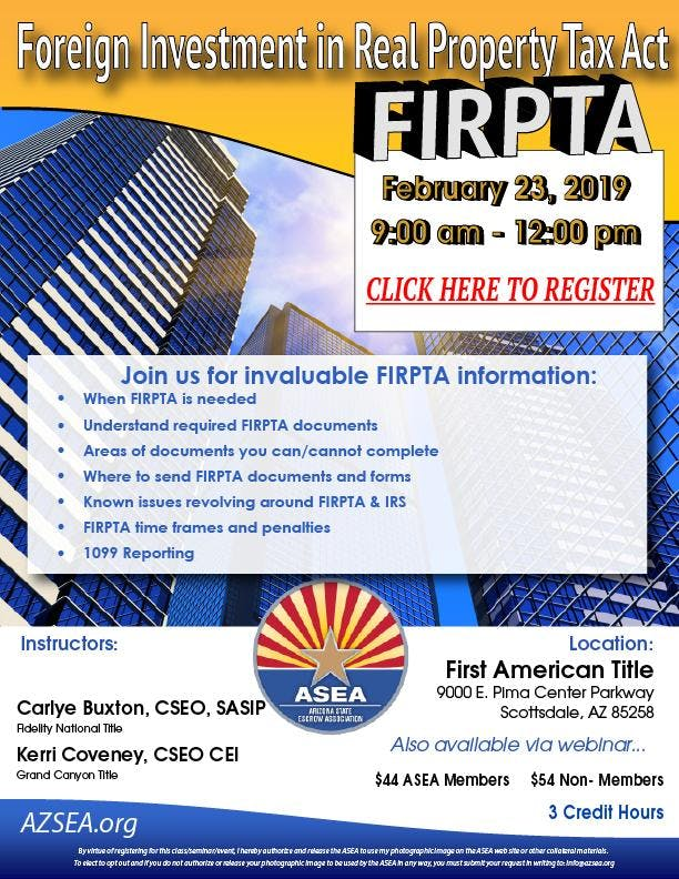 FIRPTA & 1099 Reporting February 2019