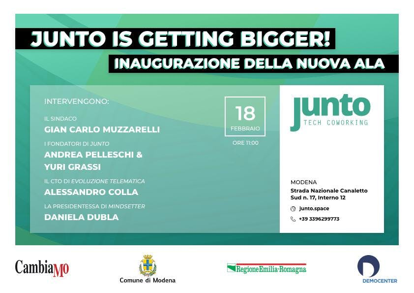 Junto is getting BIGGER // Inaugurazione dell