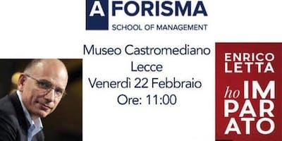 """Think  Tank/Pensare  il contemporaneo. Enrico Letta presenta """"Ho imparato"""""""
