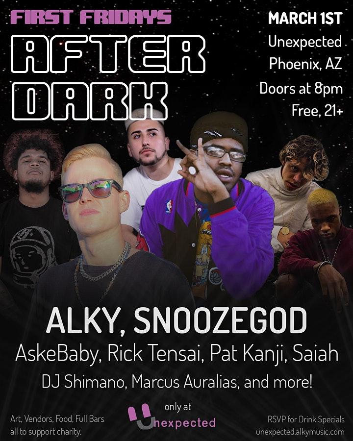 First Fridays After Dark featuring ALKY, Snoozegod, AskeBaby, and more. image