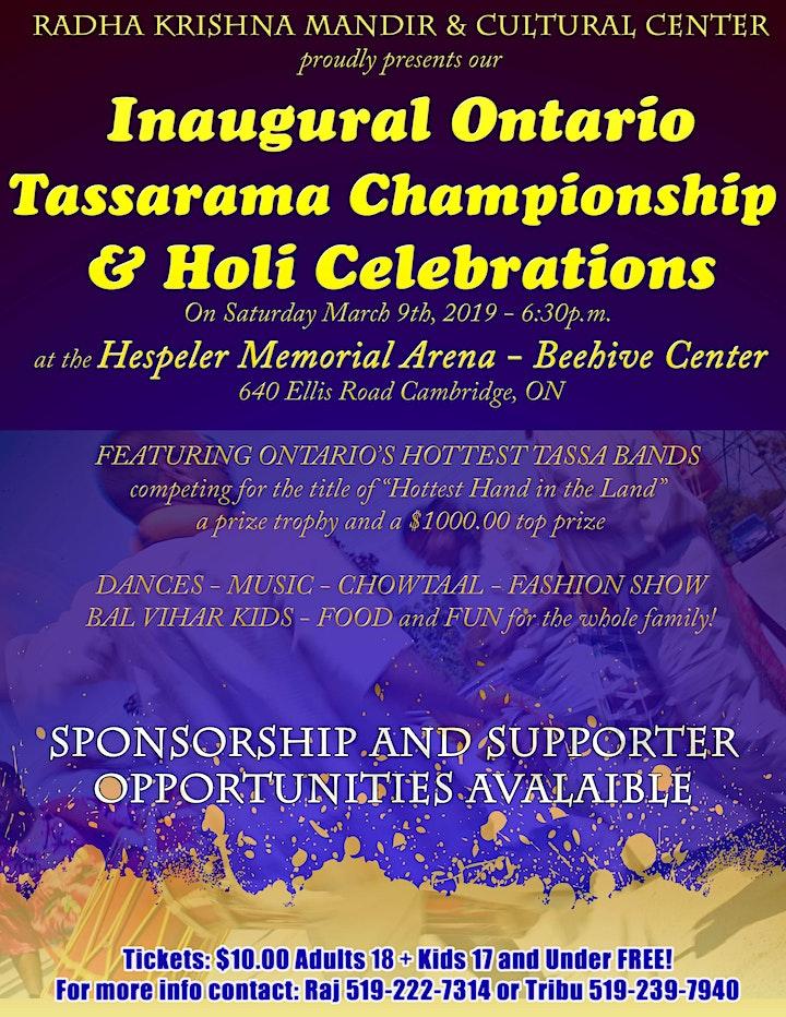 Ontario Tassarama Championship & Holi Celebrations image