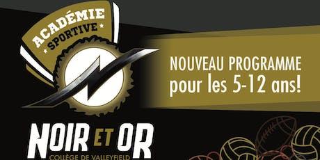 Académie sportive du Noir et Or, ateliers automne 2019 billets