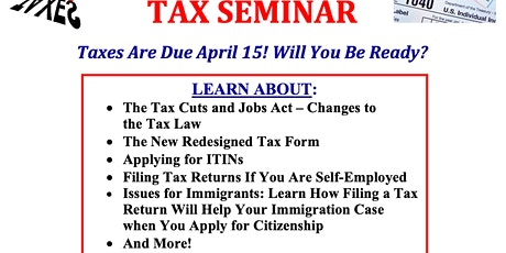 Free Tax Seminar Five Corners Branch Library JSQ tickets