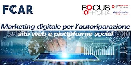 Marketing digitale per l'autoriparazione: sito web e piattaforme social biglietti