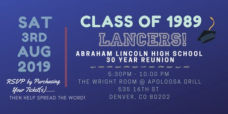Lincoln High School Class of 1989 - 30 Year Reunion tickets