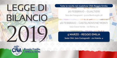 Roadshow Legge di Bilancio 2019 - Reggio Emilia