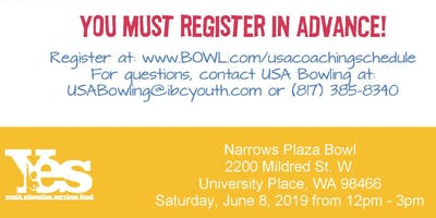 FREE USA Bowling Coach Certification Seminar - Narrows Plaza Bowl, University Place, WA