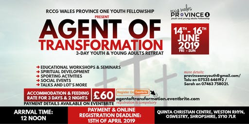 AGENT OF TRANSFORMATION: '3-DAY YOUTH  & YOUNG ADULTS RETREAT'