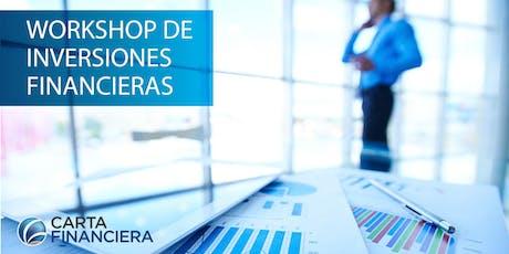 Workshop de Inversiones Financieras 3, 4 y 5 de Septiembre entradas