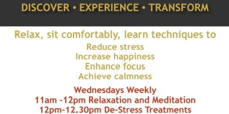 Relaxation/Meditation and de-stress treatments tickets