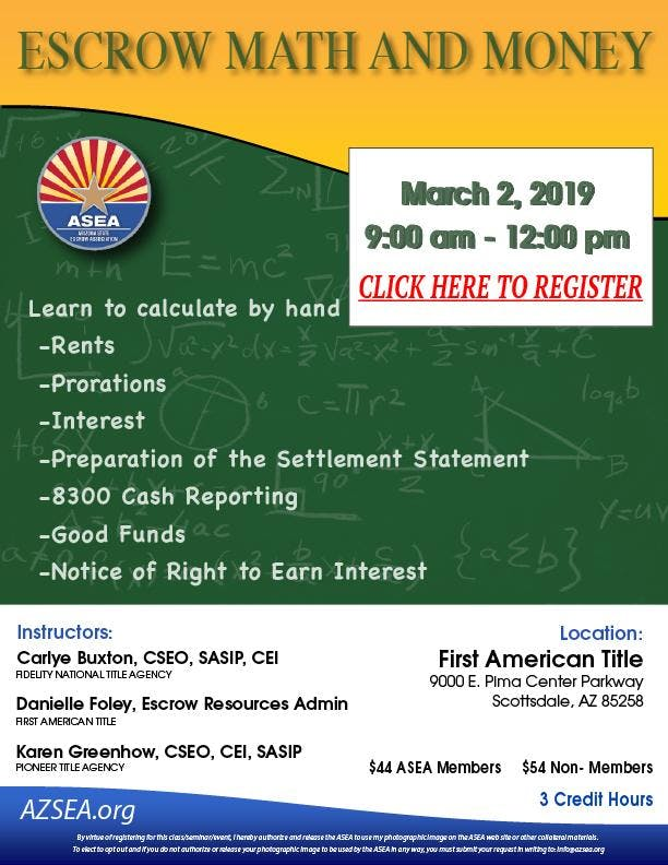 Escrow Math and Money March 2, 2019