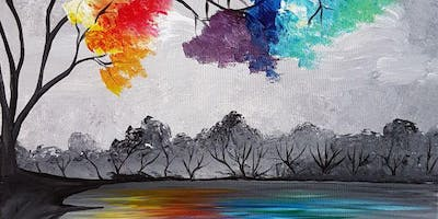 An Evening With Paintergirl~Rainbow Trees~Fundraiser for Au Chapeau