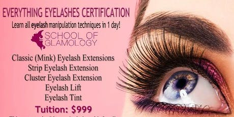 Greenville, School of Glamology: Everything Eyelashes or Classic (mink) Eyelash Certification tickets