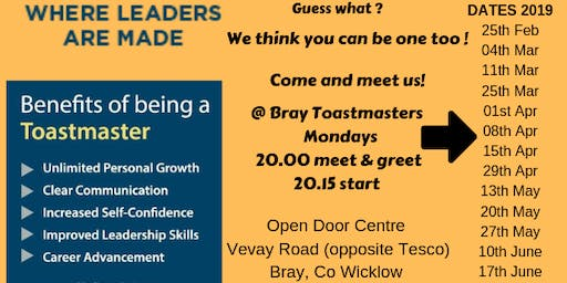 Bray Toastmasters Monday Meeting