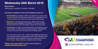 Coventry and Warwickshire Champions Event, 20th March 2019
