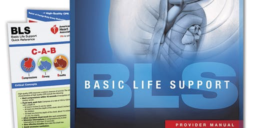 AHA BLS Provider Certification August 27, 2019 from 10 AM to 2 PM at Saving American Hearts, Inc. 6165 Lehman Drive Suite 202 Colorado Springs, Colorado 80918.