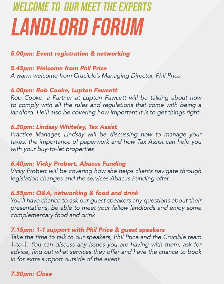 Meet the Experts - Landlord Forum image
