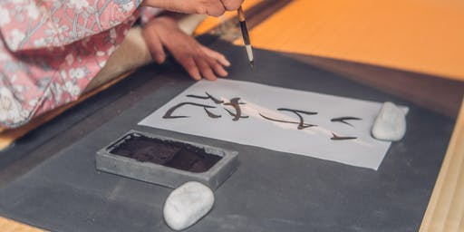 Kalligrafie workshop Japanse Tuin augustus 2019