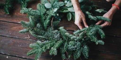 Christmas wreath making workshop in Sussex