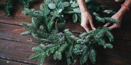 Christmas wreath making workshop in Sussex