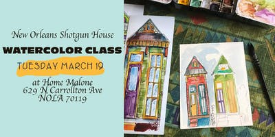 Tuesday Night Watercolor Shotgun House Class