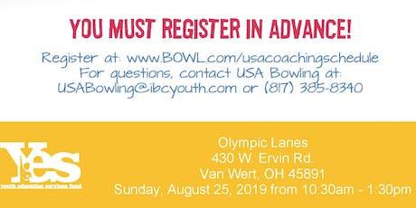 FREE USA Bowling Coach Certification Seminar - Olympic Lanes, Van Wert, OH  tickets