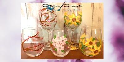 Spring Flower Wine Glass Paint Night