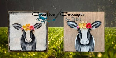 Spring Cow Slate or Wood Board Paint Night