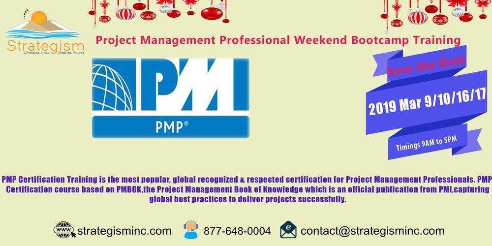 Pmp Weekend Bootcamp For Sunny Vale Mar 91016172019 Tickets Sat