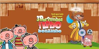 """DESCONTO! Espetáculo Infantil: \""""Três Porquinhos, um Lobo Bonzinho\"""" no Teatro BTC"""