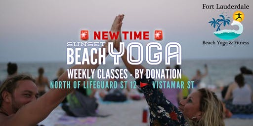 Sunset Beach Yoga by Donation - between lifeguard 12 & 13