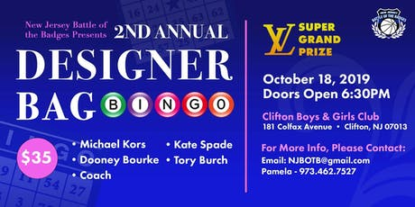 NJBOTB DESIGNER BAG BINGO AND TRICKY TRAY tickets