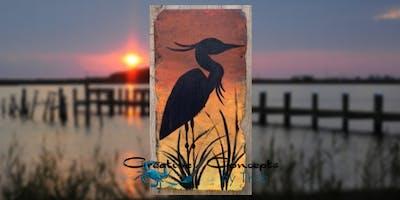 Blue Heron Slate Paint Night